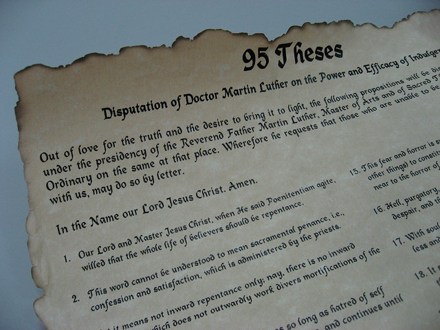 The Beginning Of 95 Theses Translated To English Lauguage